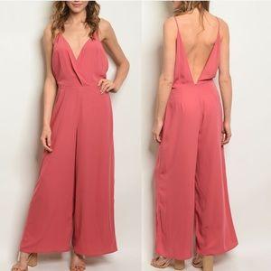 Rose Pink V neck jumpsuit